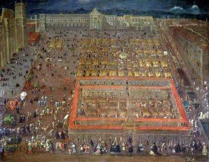 Vista de la Plaza Mayor de la ciudad de México (hacia 1695) por Cristóbal de Villalpando. En la obra se aprecia el Palacio Virreinal aún arruinado por el Motín de 1692 en la Ciudad de México.